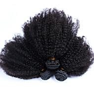 Gerçek Saç Hintli Saçı İnsan saç örgüleri Kinky Curly Afro Kıvırcık Dalgalar Saç uzatma 3 Parça Siyah