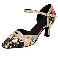 billige Kustomiserte dansesko-Dame Sko til latindans / Moderne sko Paljett / Sateng Sandaler / Høye hæler Gummi / Spenne / Blomst Kustomisert hæl Kan spesialtilpasses