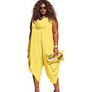 Γυναικεία Μεγάλα Μεγέθη Ντραπέ Μαύρο Κίτρινο Κόκκινο Φόρμες, Μονόχρωμο XXXL XXXXL XXXXXL Αμάνικο Καλοκαίρι