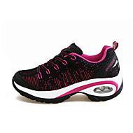 Feminino-Tênis-Conforto-Rasteiro-Roxo Vermelho Fúcsia-Tecido-Casual