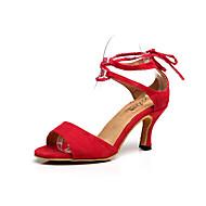baratos Sapatilhas de Dança-Mulheres Sapatos de Dança Latina Flocagem Sandália Presilha Salto Agulha Personalizável Sapatos de Dança Vermelho / Azul / Interior / Espetáculo / Ensaio / Prática / Profissional