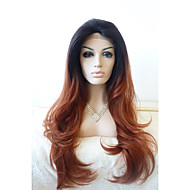 Vrouw Synthetische pruiken Kanten Voorkant Lang Golvend Zwart / Medium Auburn Ombre-haar Donkere wortels Natuurlijke haarlijn Natuurlijke