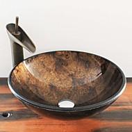 עתיק T12*Φ420*H145MM עגול חומר סינק הוא זכוכית מחוסמת כיור אמבטיה / ברז אמבטיה / טבעת הצבה לאמבטיה / ניקוז מי אמבטיה