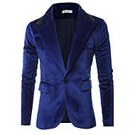 Masculino Blazer Casual Simples Primavera / Outono,Sólido Azul / Preto Algodão Colarinho de Camisa Manga Longa Grossa