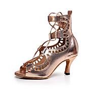 "Women's Latin Leather Sandal Practice Beginner Professional Indoor Performance Sparkling Glitter Low Heel Champagne 1"" - 1 3/4"" 2"" - 2"