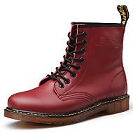 Bootsit-Tasapohja-Miehet-Nahka PU-Musta Ruskea Burgundi-Ulkoilu Rento