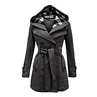 Hætte Dame Lang Vinter Vintage Daglig Frakke