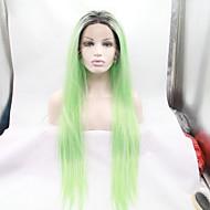 Vrouw Synthetische pruiken Kanten Voorkant Recht Groen Natuurlijke pruik Kostuumpruiken