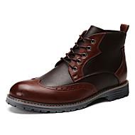 tanie Small Size Shoes-Męskie Buty Skórzany Wiosna Jesień Modne obuwie Mary Jane Buciki Spacery Szurowane na Casual Black Brown Niebieski