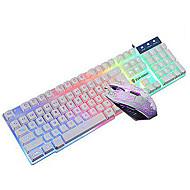 jogo de mouse e teclado combo iluminado kit usb wired (preto, branco)