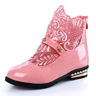 billige High-tops til børn-Pige Sko PU Vinter Snestøvler Komfort Støvler Gang Lynlås for Afslappet Formelt Hvid Sort Lys pink