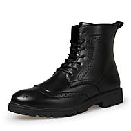 Herre-PU-Flat hæl-Komfort-Støvler-Fritid-Svart Brun
