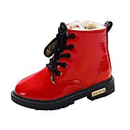 billige High-tops til børn-Pige Sko PU Vinter Snestøvler Komfort Støvler Gang Snøring for Afslappet udendørs Sort Gul Rød Blå