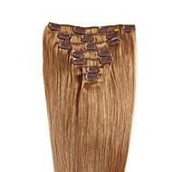 Straight Clip In Human Hair Extensions 7Pcs/Pack Chestnut Brown/Bleach Blonde Medium Brown/Strawberry Blonde Medium Brown/Bleach Blonde