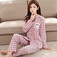 Dame Krave Jakkesæt Matchende braletter Pyjamas - Trykt mønster, Ruder