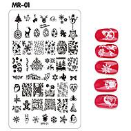 Χαμηλού Κόστους Χριστούγεννα Nail Art-1 pcs Πλάκα σφράγισης Πρότυπο τέχνη νυχιών Μανικιούρ Πεντικιούρ Μοντέρνα Καθημερινά / σφράγιση Plate / Ατσάλι