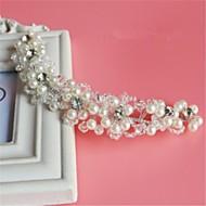 billiga Brudhuvudbonader-Kristall Oäkta pärla Bergkristall Nät pannband 1 Bröllop Speciellt Tillfälle Hårbonad