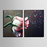コンテンポラリー フローラル 壁時計,長方形 キャンバス 35X50cm(14inchx20inch)x2pcs/ 40 x 60cm(16inchx24inch)x2pcs/ 50 x 70cm(20inchx28inch)x2pcs 屋内 クロック