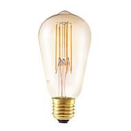 6W E26/E27 フィラメントタイプLED電球 ST58 4 LEDの COB 調光可能 装飾用 アンバー 550lm 2200K 交流220から240V
