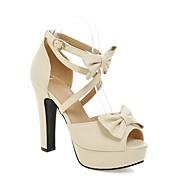 Mujer Zapatos PU Primavera / Verano Confort Tacones Tacón Cuadrado / Talón de bloque Punta abierta Pajarita Negro / Azul bTafm
