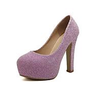 tanie Obuwie damskie-Damskie Obuwie PU Zima Jesień Comfort Klub Buty Świecące buty Szpilki Gruby obcas Pointed Toe na Casual Black Silver Różowy