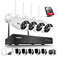 halpa -sannce® 4ch langaton NVR pakki 720p ulkona hämäränäön 1.0mp valvontakamera IP WiFi valvonta videovalvontajärjestelmäksi