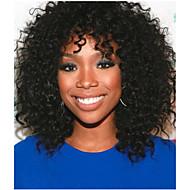 Női Emberi hajból készült parókák Csipke első paróka Teljes csipke paróka 130% Sűrűség Göndör paróka Jet Black Fekete Fekete Közepes