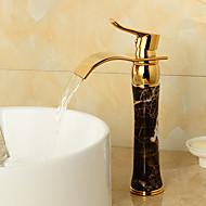 現代風 センターセット 滝状吐水タイプ with  セラミックバルブ シングルハンドルつの穴 for  Ti-PVD , バスルームのシンクの蛇口
