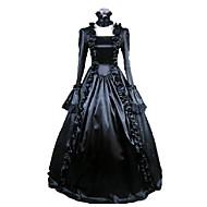Srednjovjekovni Viktoriánus Kostim Žene Haljine Povorka maski Kostim za party Crn Vintage Cosplay Saten Dugih rukava S manžetom Dugi
