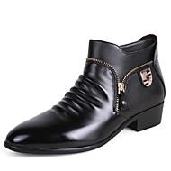 Masculino sapatos Couro Primavera Outono Inverno Curta/Ankle Conforto Botas Caminhada Ziper Para Casamento Festas & Noite Preto