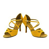 Sapatos de Dança(Preto / Amarelo / Vermelho) -Feminino-Personalizável-Latina / Salsa
