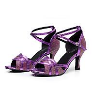 cheap Dance Shoes-Women's Latin Shoes / Jazz Shoes / Dance Sneakers Leatherette Sneaker Chunky Heel Customizable Dance Shoes Black / Silver / Purple
