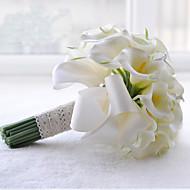 Fleurs de mariage Rond Bouquets Mariage Polyester Satin Dentelle Perle Strass Env.24cm