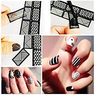 12 Nail Art Sticker Diecut Manicure Stencil maquiagem Cosméticos Prego Design Arte
