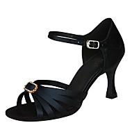 levne Taneční obuv-Dámské Boty na latinskoamerické tance / Boty na jazzové tance / Boty na salsu Satén Sandály / Podpatky Štras / Přezky Na zakázku Obyčejné