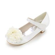 baratos Sapatos de Menina-Para Meninas Sapatos Cetim Verão Sapatos para Daminhas de Honra Saltos Apliques / Velcro para Azul / Champanhe / Ivory / Casamento