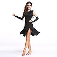 Latein-Tanz Kleider Damen Leistung Elasthan / Milchfieber Vorne geschlitzt / Quaste Ärmellos Normal Kleid