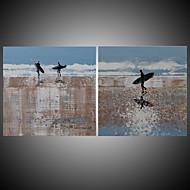billiga Landskapsmålningar-Hang målad oljemålning HANDMÅLAD - Landskap Moderna Medelhavet Duk