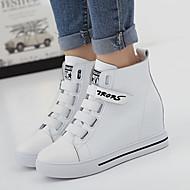 baratos Sapatos Femininos-Mulheres Sapatos Pele Napa Outono / Inverno Conforto Tênis Caminhada Salto Plataforma Ponta Redonda Velcro Branco / Preto