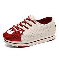 ieftine -Pentru femei Pantofi Pânză Primăvară / Toamnă Confortabili Adidași Plimbare Toc Drept Dantelă Bej / Bleumarin