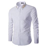Koszula Męskie Biznes Bawełna Praca Stójka Solidne kolory Biały L / Długi rękaw / Wiosna / Jesień