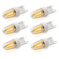 baratos Luzes LED de Dois Pinos-6pcs 600lm G9 Luminárias de LED  Duplo-Pin T 4 Contas LED COB Decorativa Branco Quente Branco Frio 220-240V