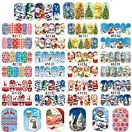 preiswerte Nagelstudio-12Design/Set Wasser Transfer Aufkleber Nagel-Aufkleber Weihnachtsschmuck Nagel Stamping Vorlage Aufkleber Nagel-Kunst-Design