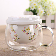 cheap Coffee and Tea-1PC Creative Flower Ceramic Filter Tank With Thick Glass Cups With Cover Ceramic Cup