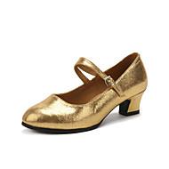 billige Moderne sko-Dame Latin Kunstlær Høye hæler Profesjonell Spenne Kubansk hæl Gull Svart Sølv Rød 3,5 cm Kan spesialtilpasses