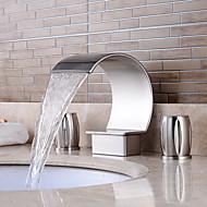Bathroom Sink Faucet - Waterfall / Widespread Nickel Brushed Widespread Two Handles Three HolesBath Taps / Brass