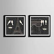 Dyr / Arkitektur Innrammet Lerret / Innrammet Sett Wall Art,PVC Materiale Svart Passpertou Inkludert med Frame For Hjem Dekor Frame Art