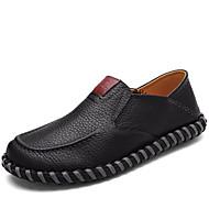 baratos Sapatos Masculinos-Homens Pele Napa Primavera / Verão / Outono Conforto Mocassins e Slip-Ons Preto / Castanho Claro / Festas & Noite