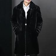 Homme Quotidien Hiver Longue Manteau, Couleur Pleine Revers Cranté Manches Longues Fausse Fourrure Basique Noir XL / XXL / XXXL