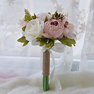 """פרחי חתונה עגול ורדים פרחי אדמוניות זרים חתונה חתונה/ אירוע פוליאסטר סאטן טפטה תחרה ספנדקס אבן ריין 6.3""""(לערך.16ס""""מ)"""